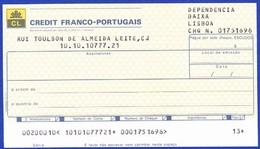 Bank Check/ Chéque Bancaire - CREDIT FRANCO PORTUGAIS - Lisboa, Portugal - Cheques & Traveler's Cheques