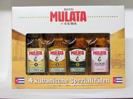 """4 Mignonnettes De Rhum - Ron Mulata De CUBA """"3 Ans - 5 Ans - 7 Ans - Liqueur Elixir"""" - Miniatures"""