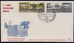 Ca0014 CONGO (Kinshasa) 1966, SG 603-4 World Meteorological Day, Journée Météorologique Mondiale, FDC - FDC