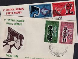 Ca5010 CONGO (Kinshasa) 1966, SG 605-8  World Festival Of Negro Arts (Arts Negres)  FDC - FDC