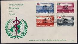 Cb0006 CONGO (Kinshasa) 1966, SG 618-21 Inaug. Of WHO (OMS) Headquarters Geneva, FDC - FDC