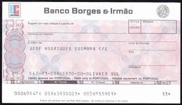 Bank Check/ Chèque Bancaire - Euro Cheque/ BANCO BORGES & IRMÃO  - Olivais Sul , Portugal - Assegni & Assegni Di Viaggio