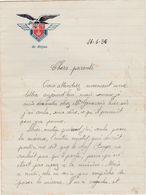 Lettre De Soldat / 1936 / Base Aérienne De Dijon / Aviation - Documents