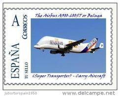 """SPAIN*The Airbus A300-600ST Or """"Beluga""""/Super Transporter/Carry Aircraft/Aviation/ON SPAIN PERSONALIZED STAMP/TU SELLO - Avions"""