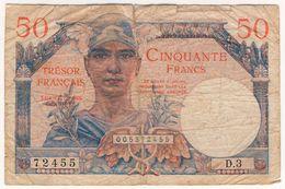 France - 50 Francs Trésor - D.3 Petit état Mais Rare Avec Cet Alphabet - 1947 Tesoro Francés