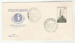 1959  ITALY FDC ARMY VETERANS Anciene Combattants Cover By Capitolium Wwii Wwi - WW1