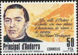 Andorra Spanish 1983 Jacint Verdaguer I Santalo Value MNH Catalan Poet Poem - Languages