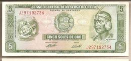 Perù - Banconota Circolata SPL Da 5 Soles De Oro P-99c.3 - 1974 - Perù