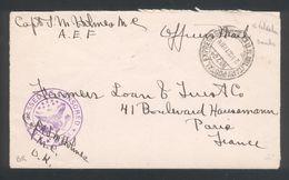 Cachet Miltary Postal Express Service N° 704 ( Valdahon Doubs) 21 Oct 1918  + A.E.F Passedas Censored  A 543 - Marcophilie (Lettres)