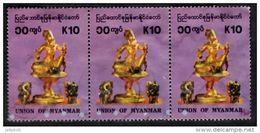 MYANMAR 1993 Statuettes 10k Strip Of 3 Used - Myanmar (Burma 1948-...)