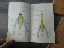 Lot De 3 Livres Manuel Munitions Materiel Artillerie Lourde Calibre 80 90 95 100 Munition Edition 1915 Tete Fusée Obus - 1914-18