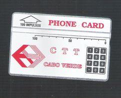 "PHONECARD ÓPTICO CABO VERDE  CV3d ""CTT/TECLAS"" 504C - 100U -  USED - Portugal"