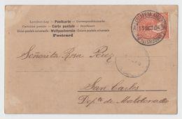"URUGUAY ""ESTAFETA AMBULANTE"" Neat RAILROAD Cancel On Postcard 1904 RARE - Uruguay"