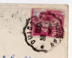"""1936--cachet """"Quiberon à Auray"""" -- Type  Semeuse Sur CPA Quiberon-Grotte De Port Bara - Marcophilie (Lettres)"""