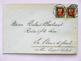 SUISSE / SCHWEIZ / SWITZERLAND // 1919, Lettre - Brief, 2x71/2Rp. PRO JUVENTUTE 1919, Von MARLY-LE-GRAND => LA CHAUX DE - Pro Juventute