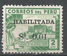Peru 1951. Scott #445 (M) Children's Holiday Center, Ancon - Pérou