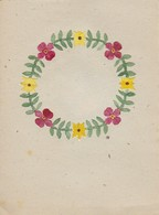Orig. Scherenschnitt - Blumenkranz - 1948 (32595) - Papier Chinois