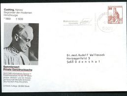 Bund PU250 B1/007-2 Privat-Umschlag HARVEY CUSHING HIRNCHIRUG Wuppertal 1982 - Sobres Privados - Usados