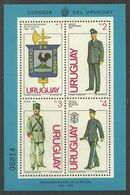 URUGUAY 1980 MILITARY POLICE UNIFORMS BIRDS COCKEREL M/SHEET MNH - Uruguay