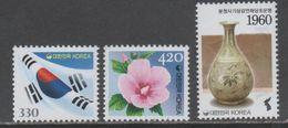 SOUTH KOREA , 2017, MNH,FLAGS, FLOWERS, VASES, 3v - Stamps