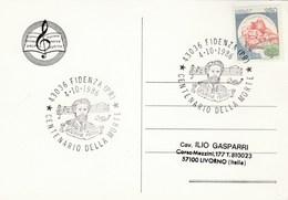 1986 Giovanni ROSSI Music EVENT COVER Fidenza Card Italy Stamps Slogan - Music