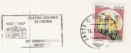 1987  TEATRO SOCIALE DI CREMA Music EVENT COVER Card Italy Stamps Theatre Slogan - Theatre