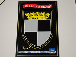 CP Blason écusson Autocollant Adhésif Adesivi Stemma Charlieu (Loire 42) - Vignettes Autocollantes