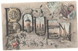 ***  76  ***  ROUEN  Superbe Carte De Rouen Multivues écusson - Timbrée TTB - Rouen