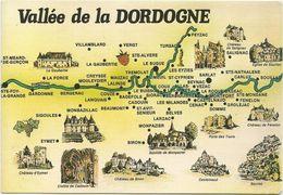 V1398 Vallée De La Dordogne - Carte Geographique Map Carta Geografica / Non Viaggiata - Carte Geografiche