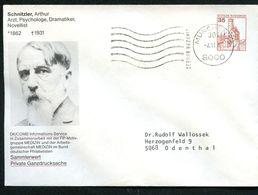 Bund PU250 B1/008-8 Privat-Umschlag ARTHUR SCHNITZLER Arzt Schriftsteller 1983 - Medizin
