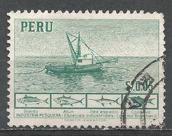 Peru 1952. Scott #458 (U) Fishing Boat, Fish - Pérou