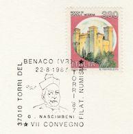 1987  GUISEPPE NASCIMBENI  EVENT  COVER Benaco Italy Card Stamps Religion Christianity - Christianity