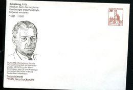 Bund PU250 B1/009-7 Privat-Umschlag FRITZ SCHELLONG INTERNIST 1984  NGK 5,00 € - Medizin