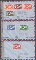 1944  Série PA France Libre Sur 3 Enveloppes Recommandées Et Censurées Pour Les USA - Poste Aérienne