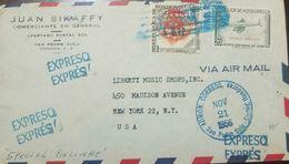 O) 1956 HONDURAS, ROTARY CLUB - ENTREGA INMEDIATA 20 CENTAVOS DE LAMPIRA- AIRPLANE, TO USA - Honduras