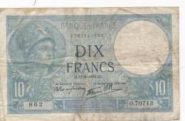 H18 - Billet - 10 FRANCS MINERVE 1939 - 1871-1952 Antichi Franchi Circolanti Nel XX Secolo