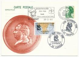 Entier Repiqué - 1,90 Liberté + Timbre Suffren - OMEC Et Cachet 1er Jour - St Cannat Et St Tropez 20/2/1988 - Postal Stamped Stationery