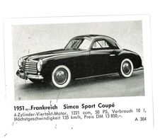 CHROMO IMAGE AUTOMOBILE 1951 FRANCE SIMCA SPORT COUPE - Vecchi Documenti