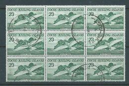 Cocos Keeling Island 1963 2/3 Tern Bird Definitive Block Of 9 Commercially FU - Cocos (Keeling) Islands