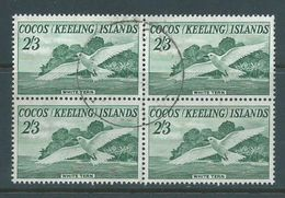 Cocos Keeling Island 1963 2/3 Tern Bird Definitive Block Of 4 Commercially FU , 1 Unit With Small Red Wine? Stain - Cocos (Keeling) Islands