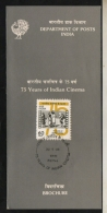 India  1989 -  75 Years Of Indian Cinema  First Day Stamped Information Brochure  #  06398   D  Inde Indien - Cinema