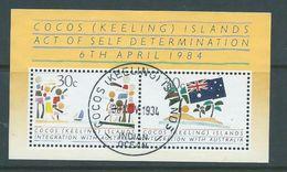 Cocos Keeling Island 1984 Integration With Australia Miniature Sheet FU - Cocos (Keeling) Islands