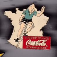 Gros Pin's TINTIN TOUR DE FRANCE SPONSOR COCACOLA MAILLOT VERT - Comics