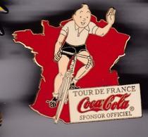 Gros Pin's TINTIN TOUR DE FRANCE SPONSOR COCACOLA MAILLOT BLANC - Comics