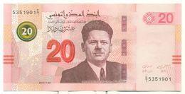 Tunisie 2017-Nouveau Billet De 20 DT Portrait De Farhat Hachet Créteur Du Syndicat Tunisien Et L'amphithéatre De El Jem - Tunisia