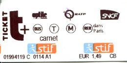 Billet  Issu D'un Carnet Train + Métro + Bus SNCF STIF - Subway