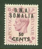 Somalia: 1948   KGVI 'B.M.A. Somalia' OVPT   SG S16   50c On 6d    MH - Somalia
