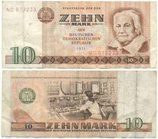 DDR 1971, 10 Mark, Staatsbank Der DDR, C. Zetkin, KN 6stellig, Geldschein, Banknote - [ 6] 1949-1990: DDR - Duitse Dem. Rep.