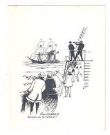 """MENU Illustré Roger Chapelet """" Rencontre Du DU TREMBLAY """",Voilier;PAQUEBOT DJEBEL DIRA, Commandant Sarion,Cie Navigation - Menu"""