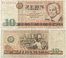 DDR 1971, 10 Mark, Staatsbank Der DDR, C. Zetkin, KN 7stellig, Geldschein, Banknote - [ 6] 1949-1990 : GDR - German Dem. Rep.